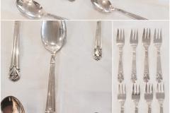 Bestik, sølvplet. stempel: SCF. Kagegafler 8 stk. (13,5 cm.) Teskeer 3 stk. (12 cm.) Skeer 4 stk. (19,5 cm.) 15 stk. Samlet pris 300 ,-